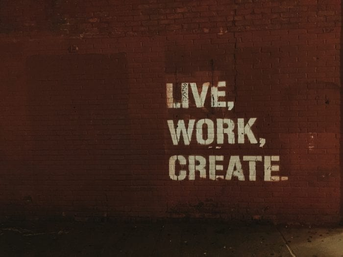Live Work Create sign