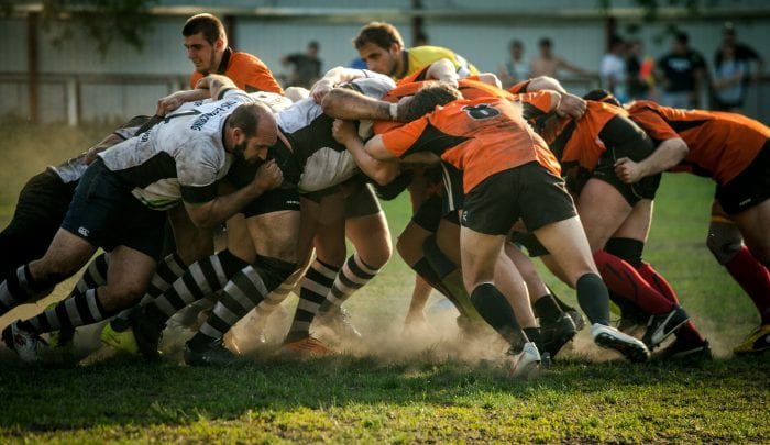A team playing Rugby