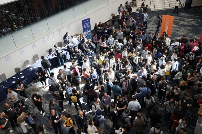 A crowd at a trade show